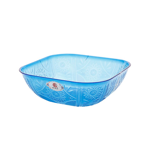 Square Fruit Bowl Trans Blue