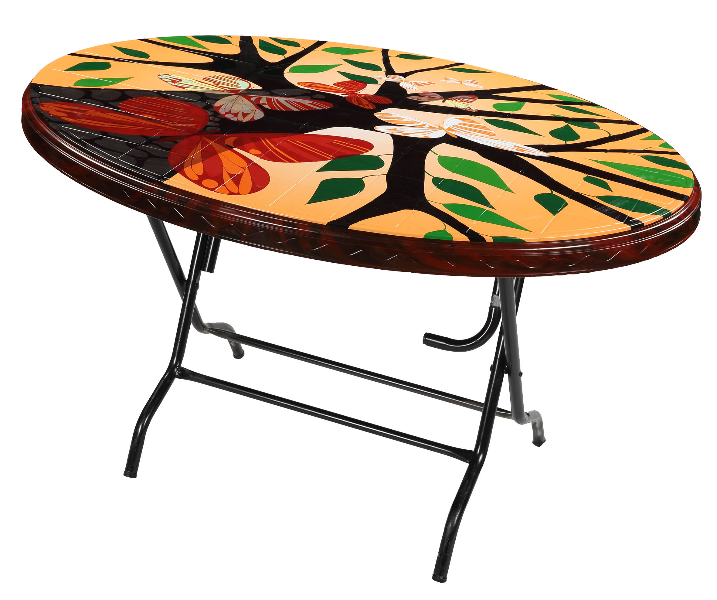 Dining Table 4 Seat Oval S/L Print Love Tree-RW