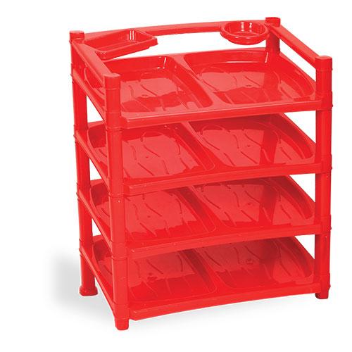 4 steps modern shoe rack Red