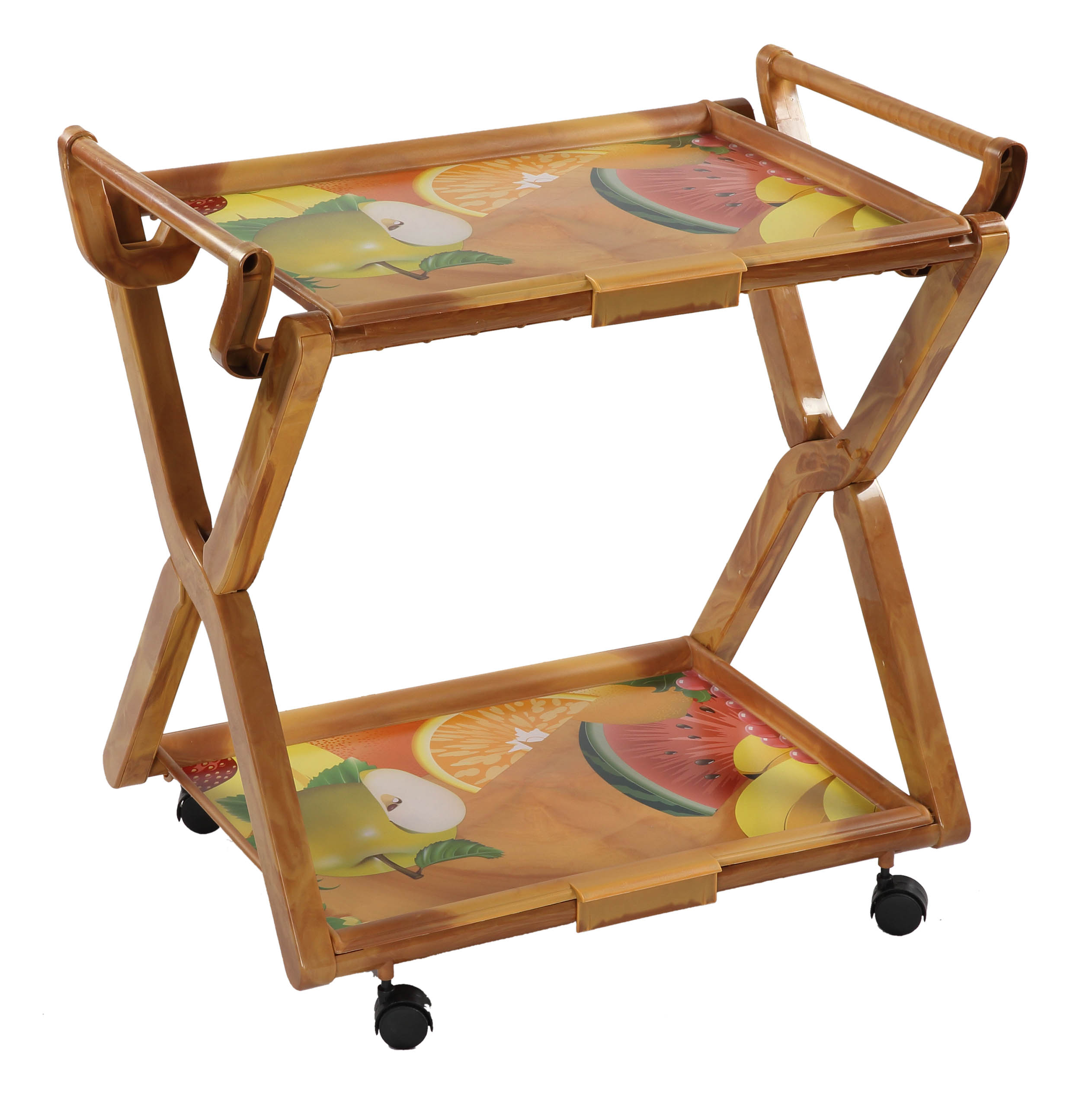 Royal Folding Tea Table Printed Hello Fly-E.Brown