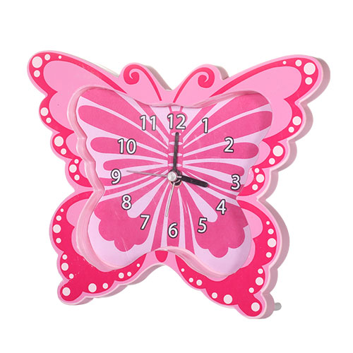 Butterfly Table Clock Pink