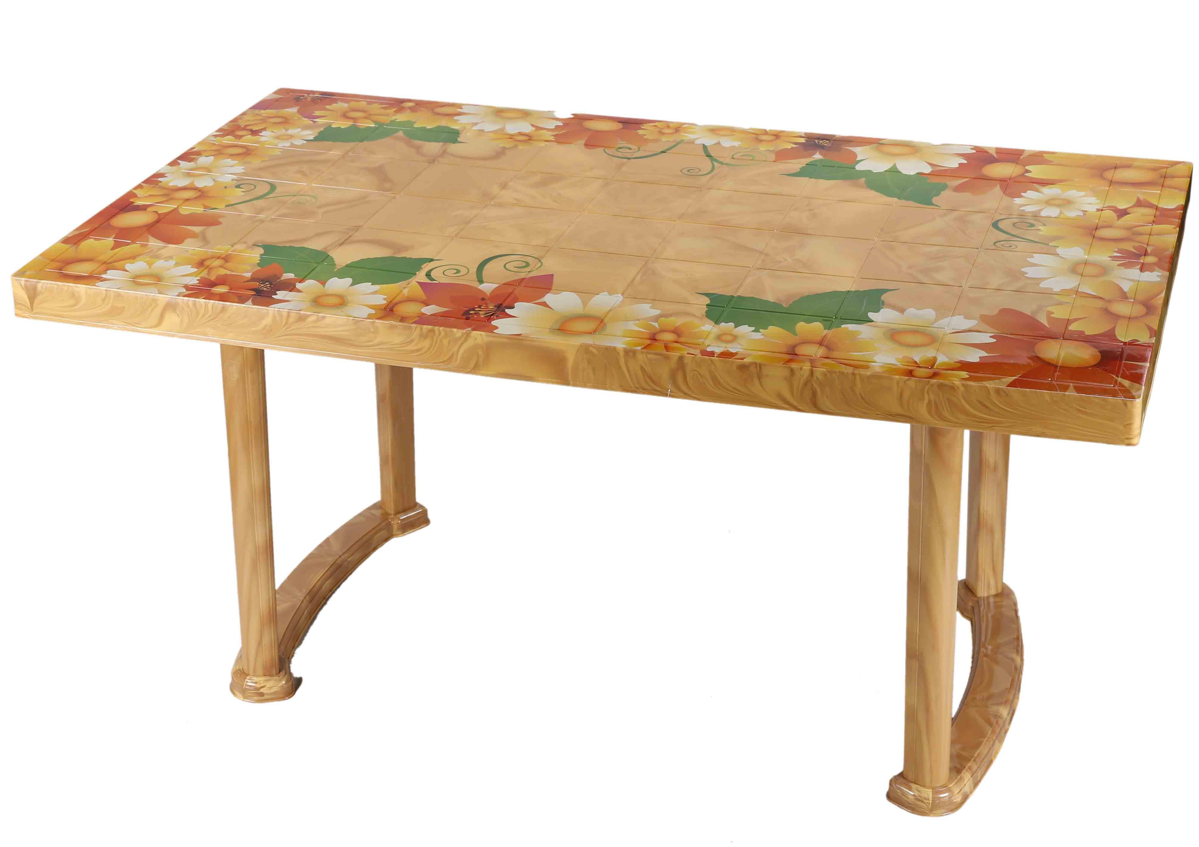 Deco Classic Table 6 Seat PlasLeg Print Sunflo-SW
