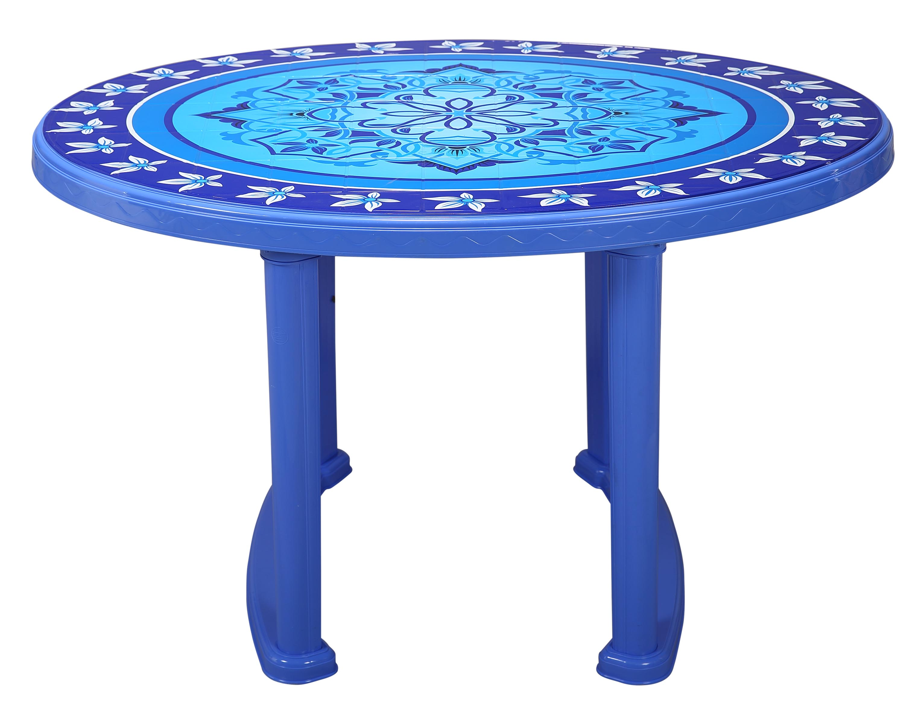 Dining Table 4 Seat Oval P/L Print Love Tree-Blue