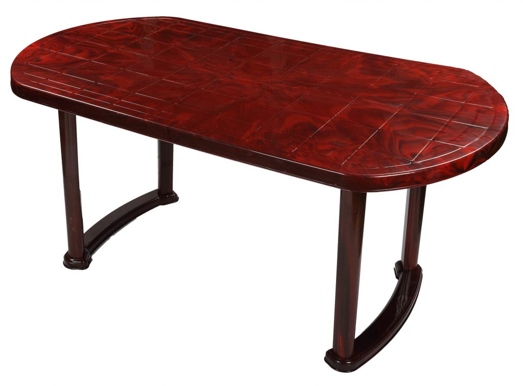Dining Table 6 Seat Semi Oval Plas Leg Rose Wood Rfl