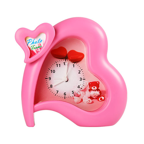 Heart Table Clock Pink