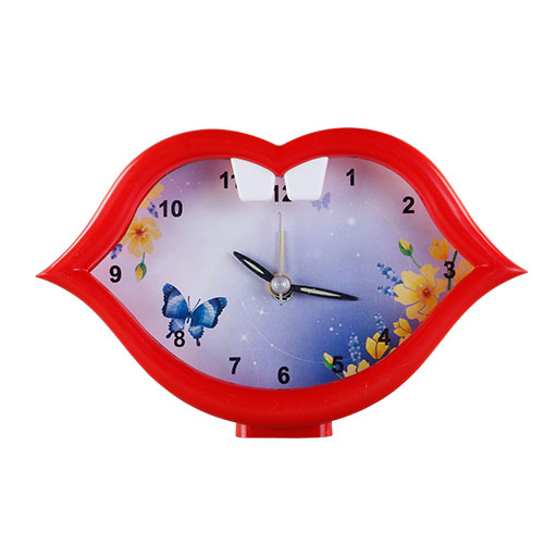 Mouth Table Clock Red
