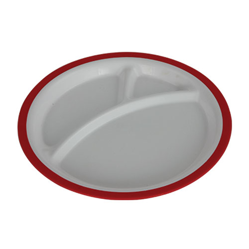 Round Baby Plate three part Red