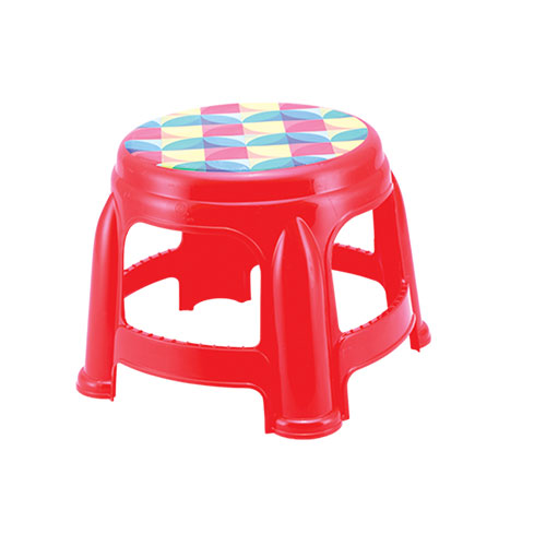 Round Short Stool Red