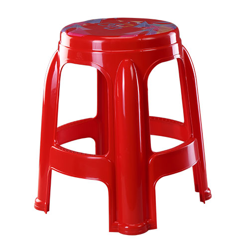 Round High Stool Printed Red