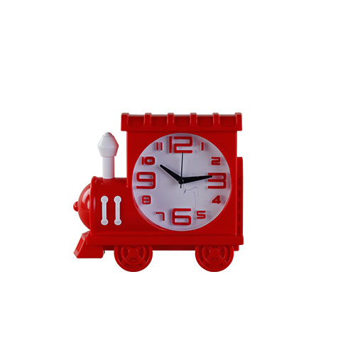 Train Table Clock Red