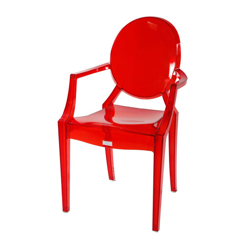 Transpa Moon-Back (Arm) Chair – Trans Red