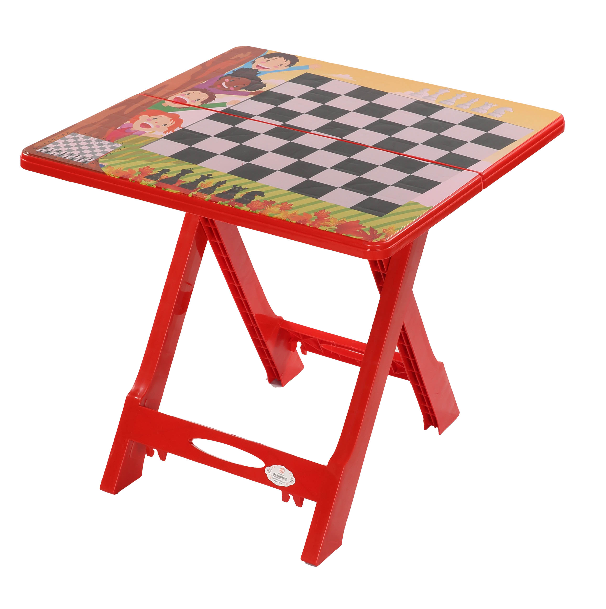 Baby Folding Table Printed Chess-Red