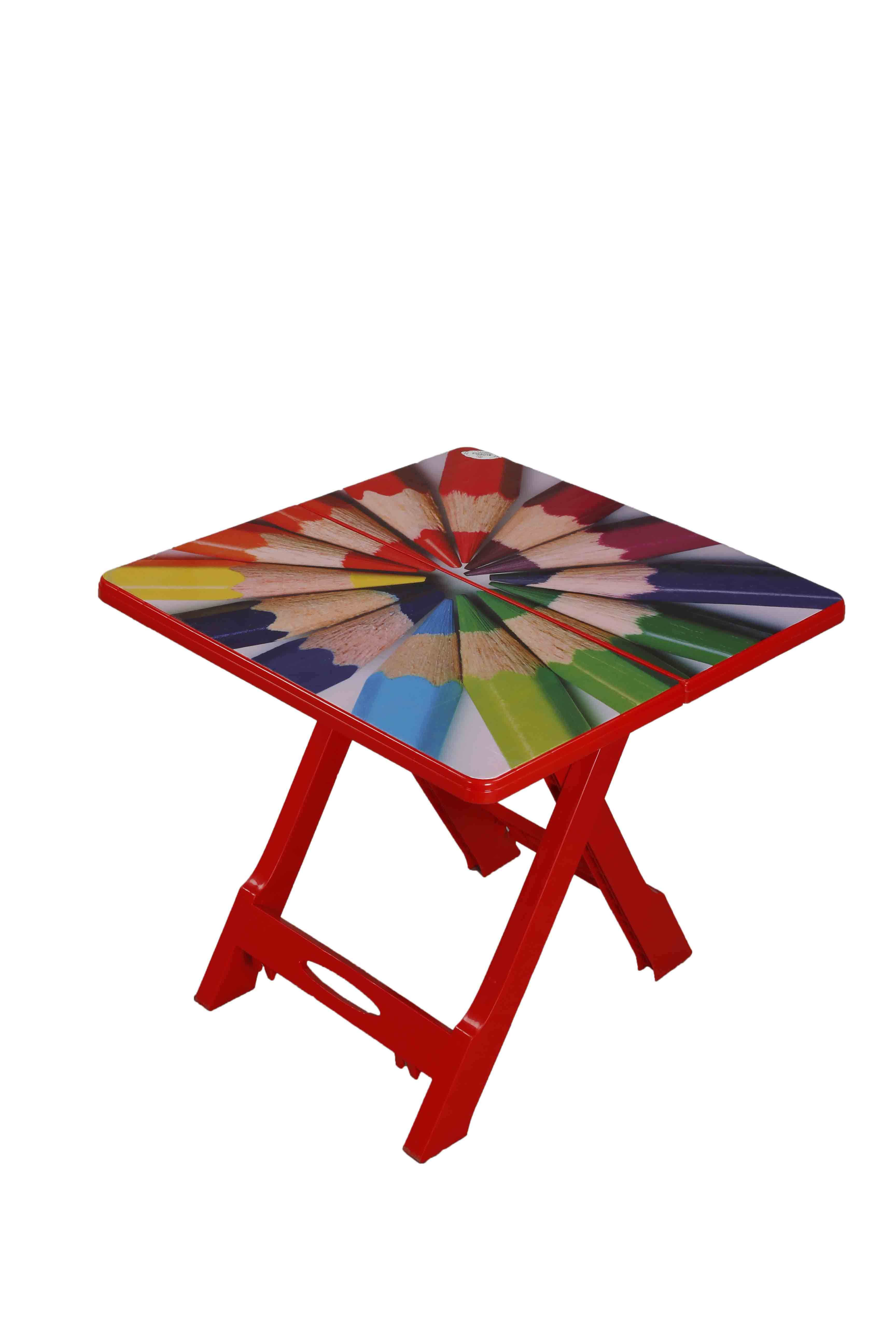 Baby Folding Table Printed Pencil-Red