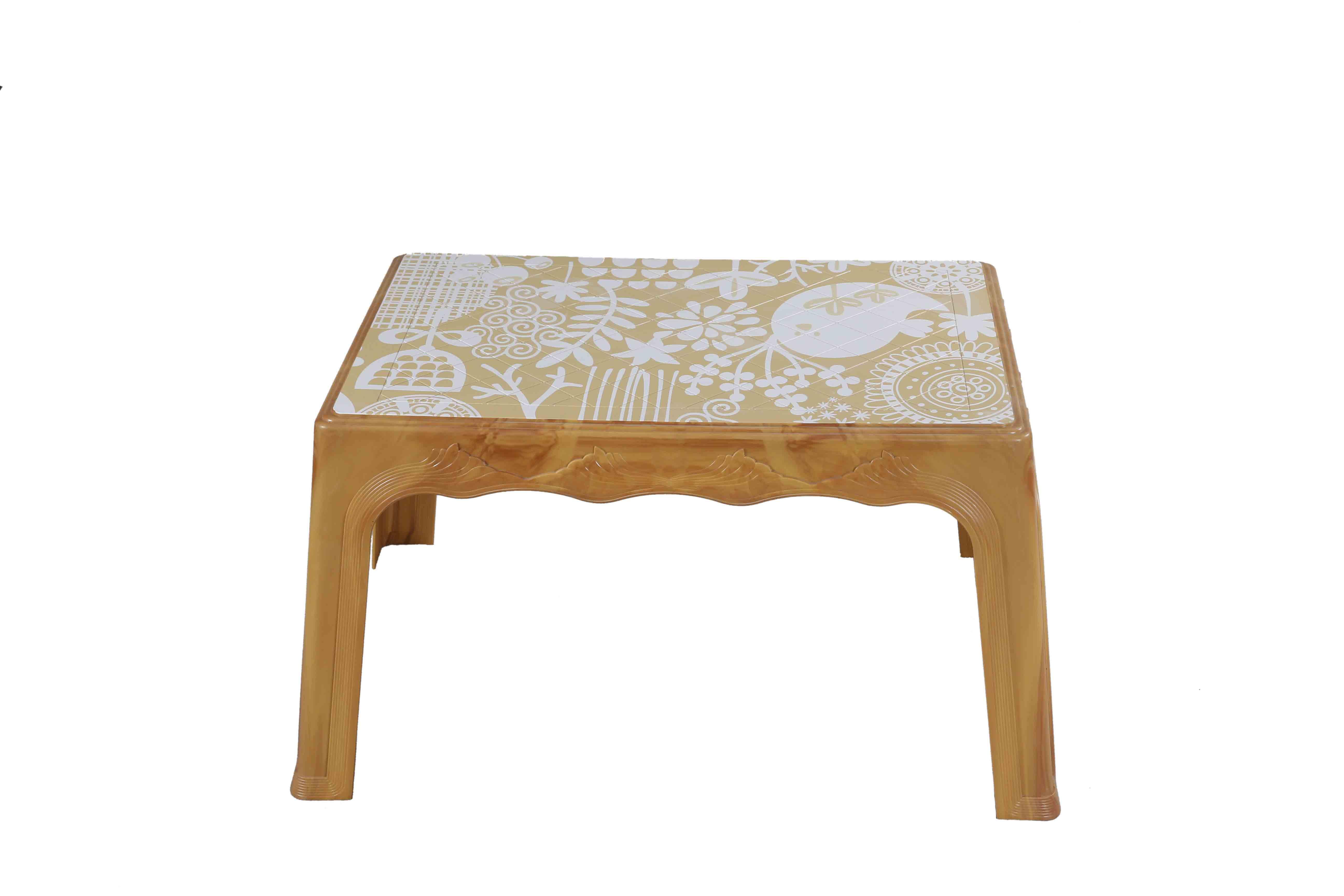Center Table Printed Garden – Sandal Wood