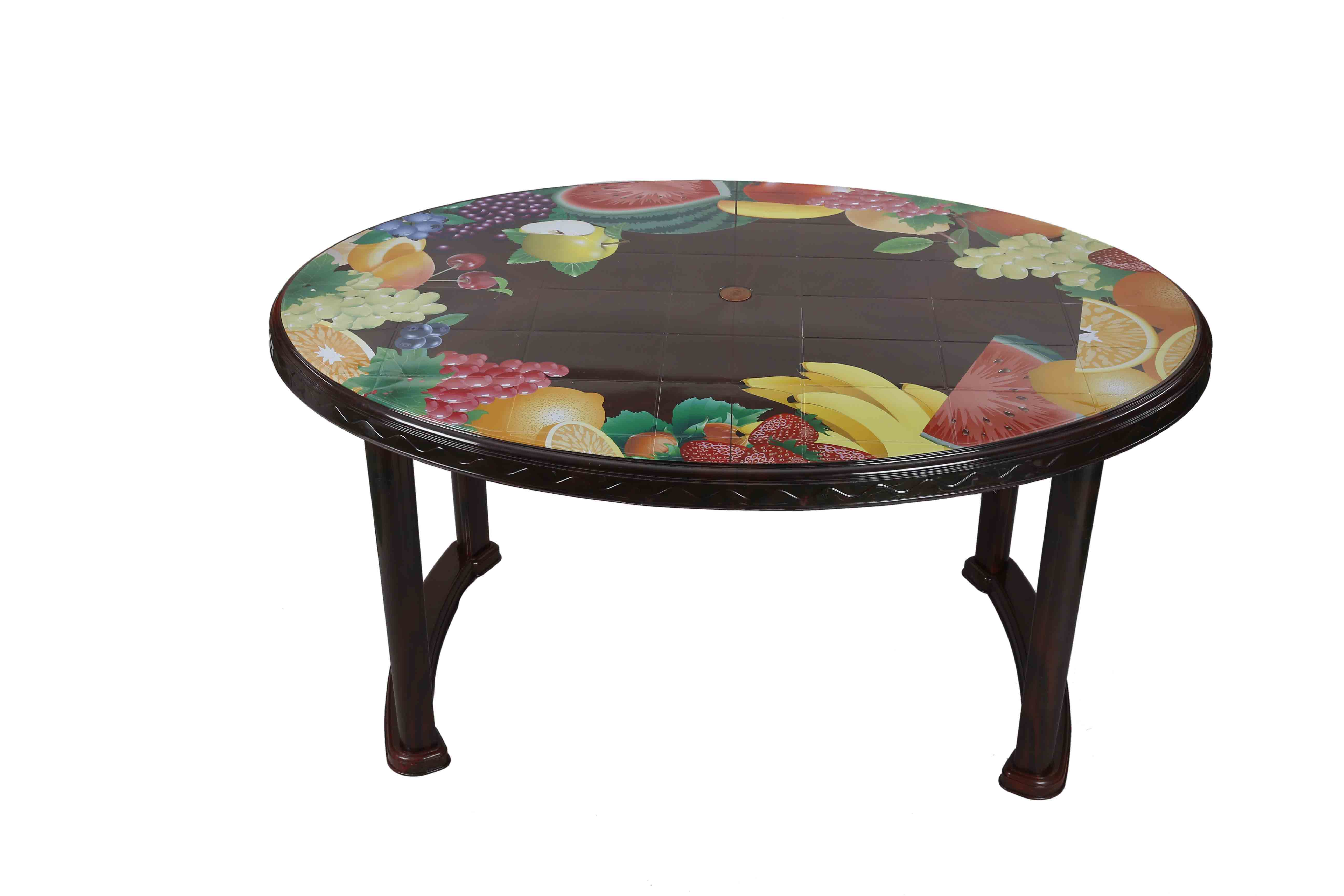 Dining Table 6 Seat Oval PL Print Mixed Fruit -RW