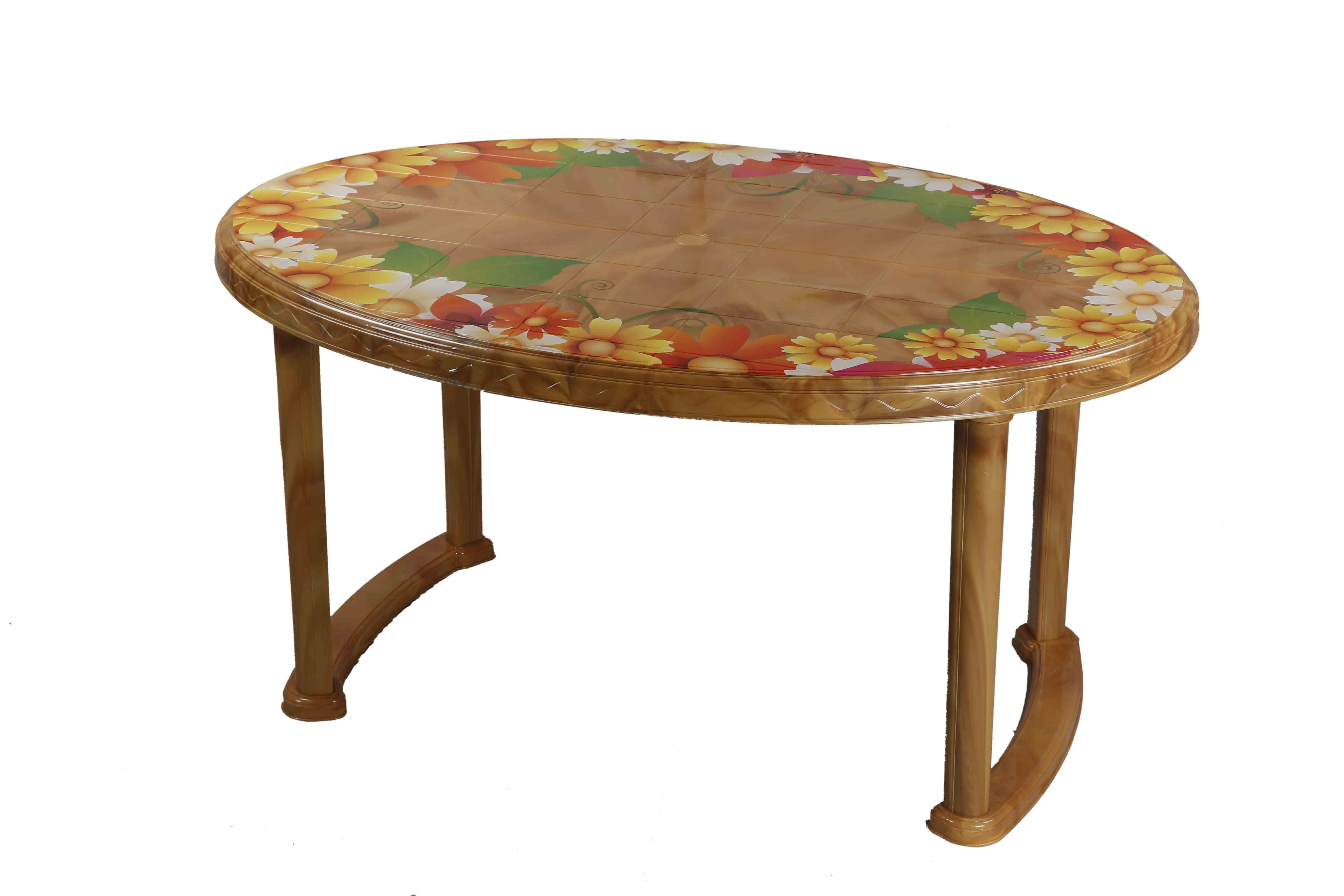 Dining Table 6 Seat Oval P/L Printed Sunflower -SW