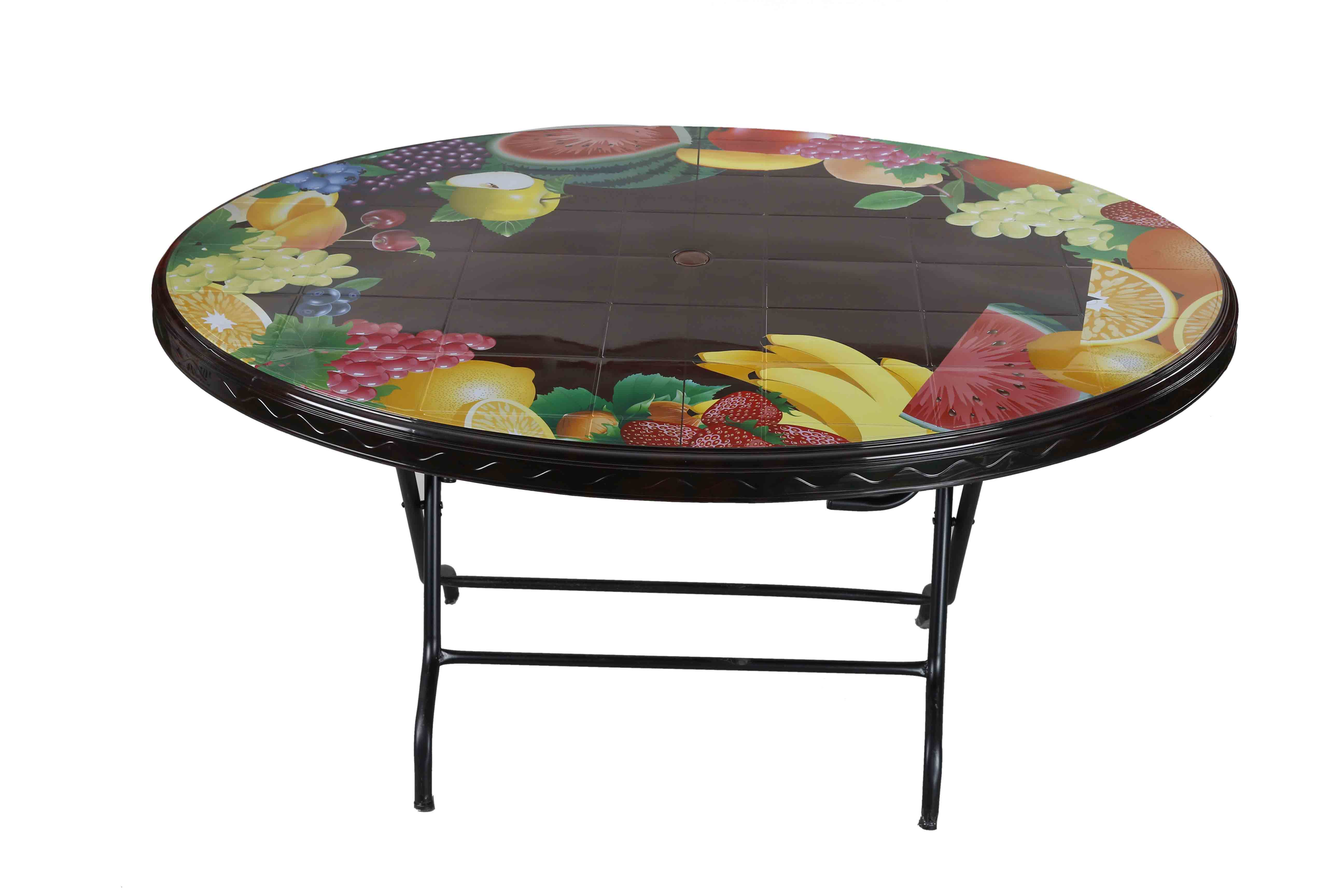 Dining Table 6 Seat Oval S/L Print Mixed Fruit -RW