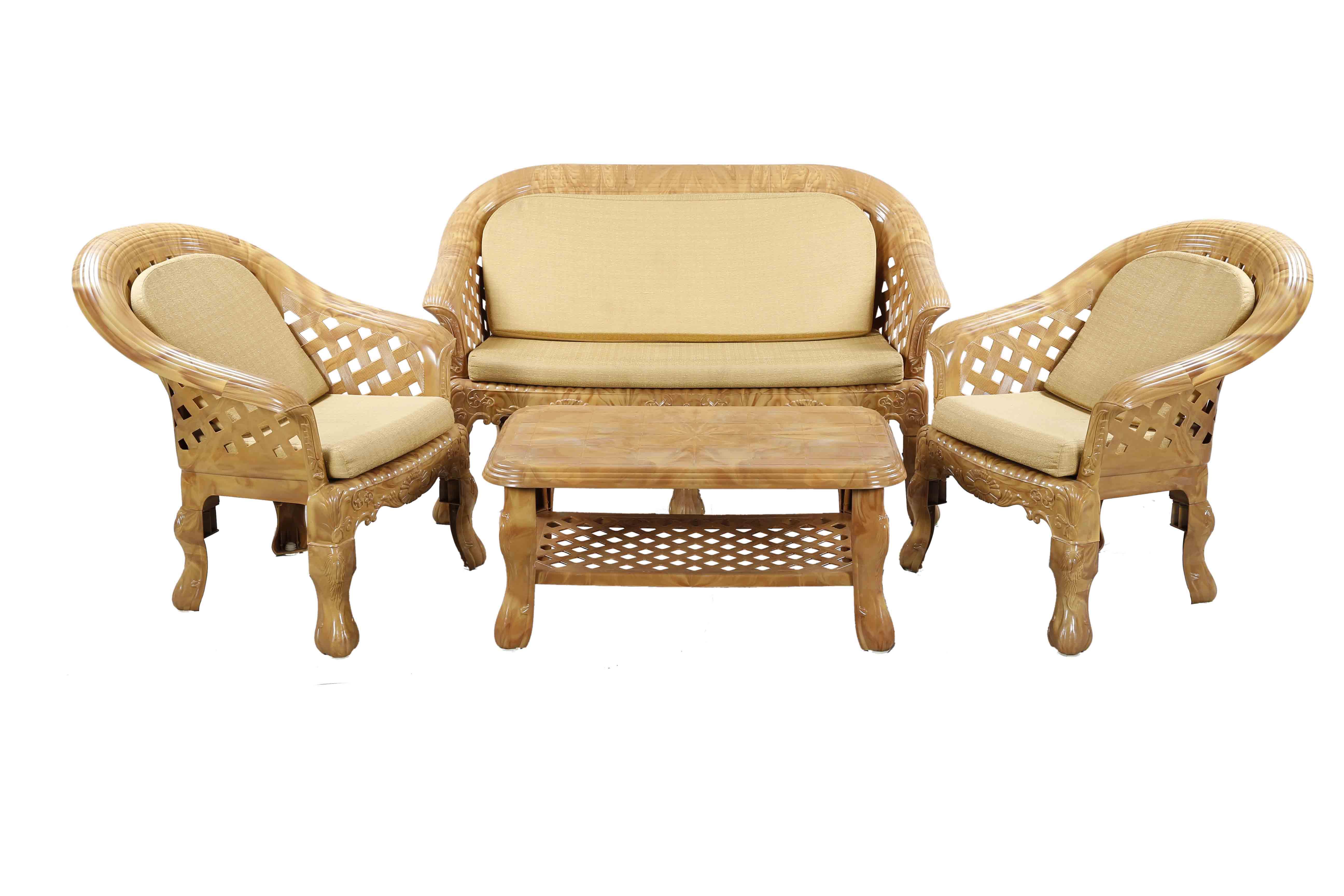 Sofa 4 Pcs Set with Foam -Sandal Wood