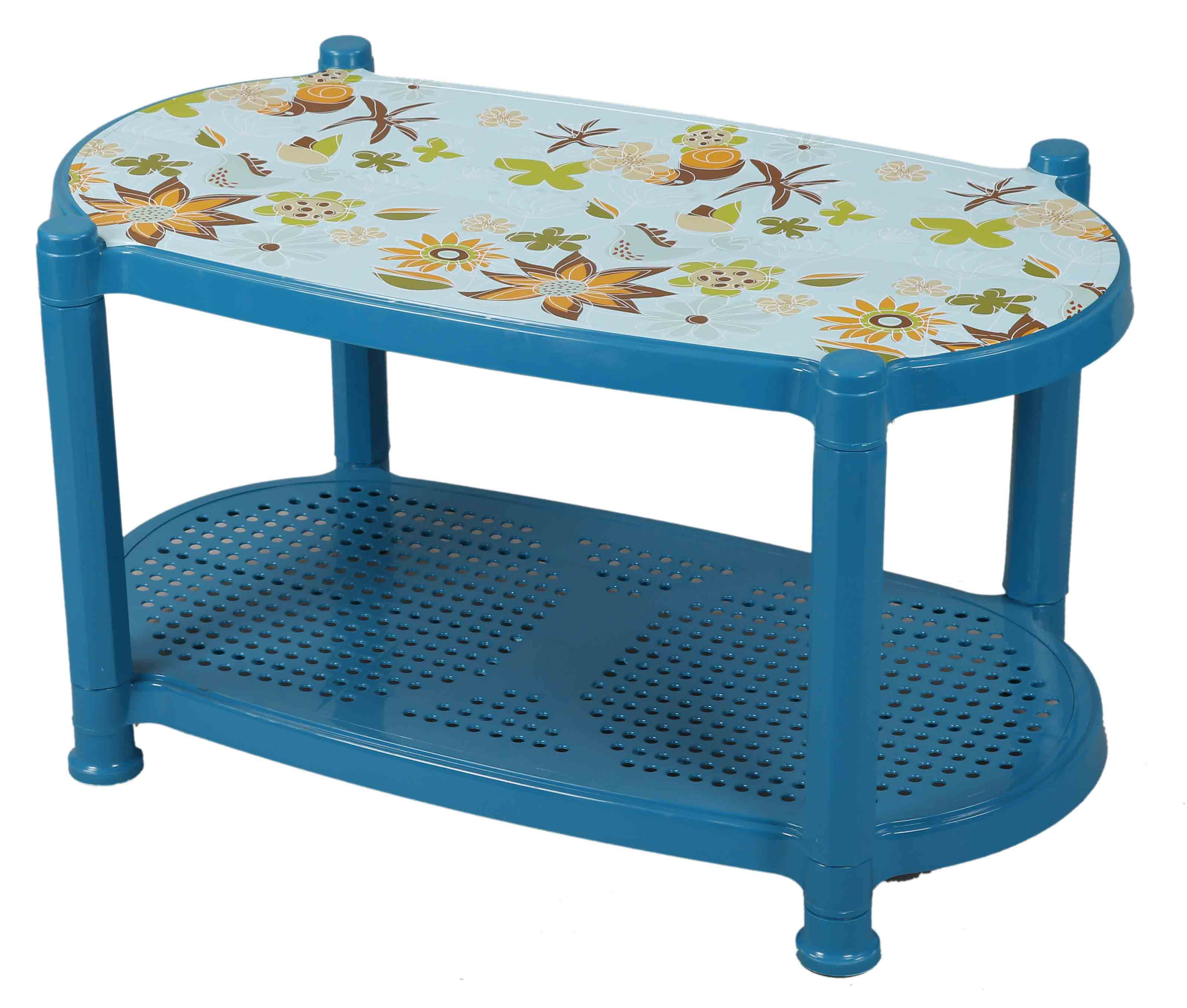 Tea Table With Stopper Print Sea Flower-Tulip Green