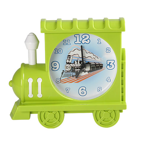 Train Table Clock Green