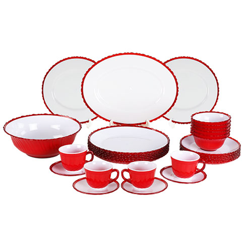 Tulip Dinner Set 32 Pcs Set Red Rfl
